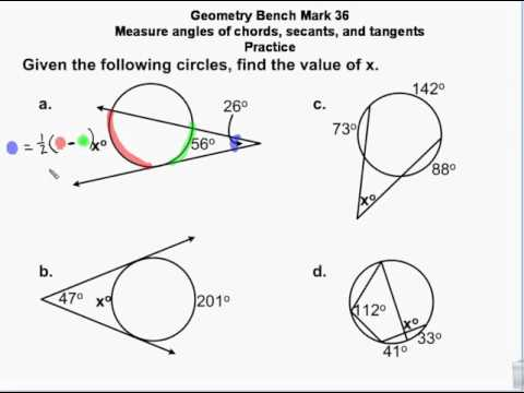 Geometry - Circles - Chords, secants & tangents - measures, angles and arc lengths