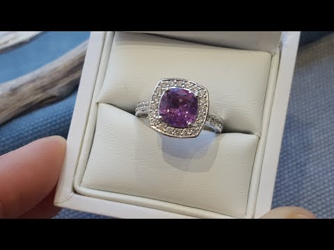 2.17ct purple/pink sapphire and 0.51ct white diamond engagement ring