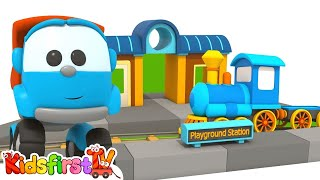 Toy Trucks Playground: TRAIN STATION - Cartoon LEO & LIFTY Construction Games & Puzzles!