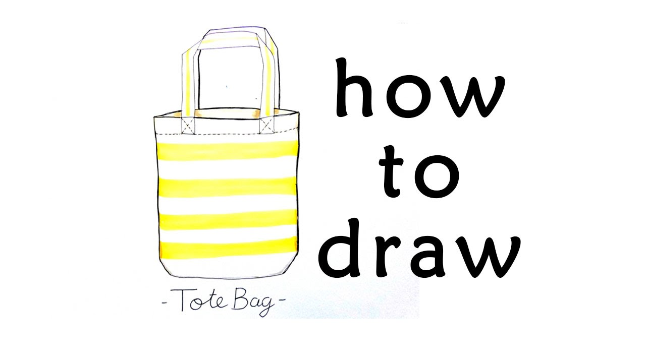Tote bag drawing - How To Draw Bag Totebag