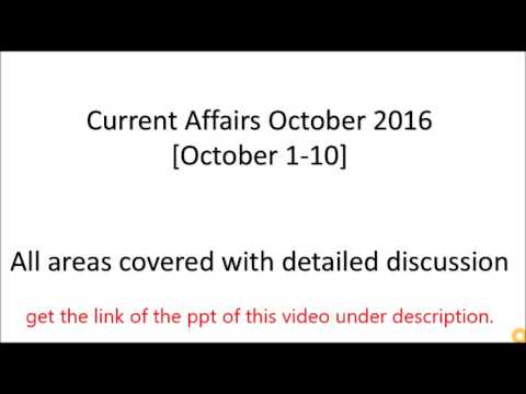 Current affair october 2016 | kvs preparation current | current affairs 2016| Strategy for affairs