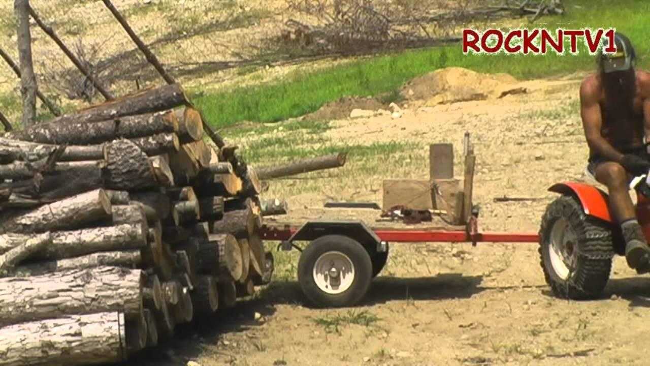 Sears Custom 7 GARDEN TRACTOR Cutting Firewood Logging