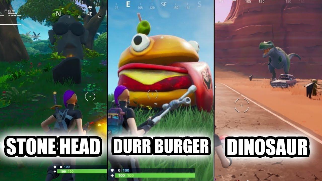 Fortnite Visit Drift Painted Durr Burger Head A Dinosaur And A Stone Head Statue