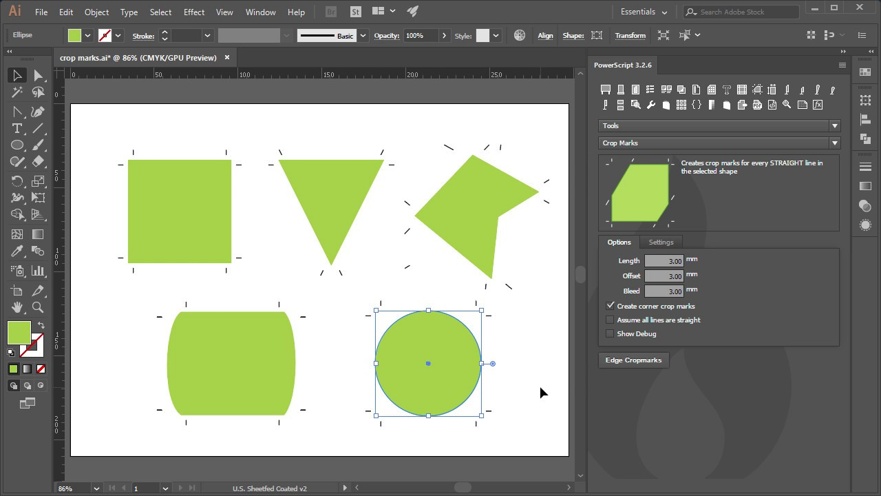 Crop Marks PowerScript for Adobe Illustrator