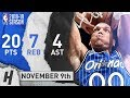 Aaron Gordon Full Highlights Magic vs Wizards 2018.11.09 - 20 Pts, 4 Ast, 7 Rebounds!