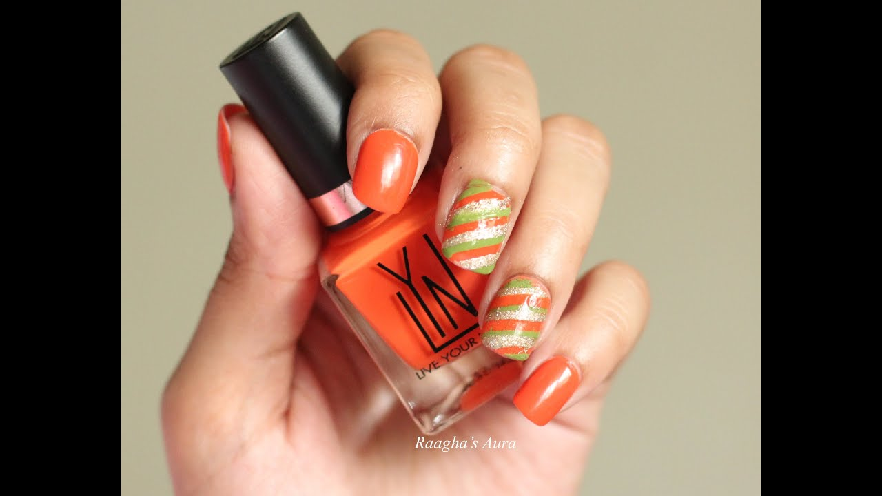 Orangegreen And Gold Striped Nail Art Raaghasaura Youtube