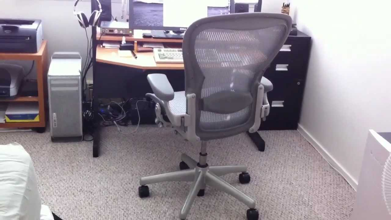 Aeron Office Chairs 4 Seater Table And Herman Miller Chair Titanium Color Review & Demo - Youtube