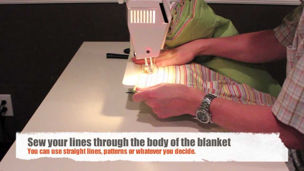 How To Sew A Blanket Or Quilt With Two Sheets And Some Batting Youtube