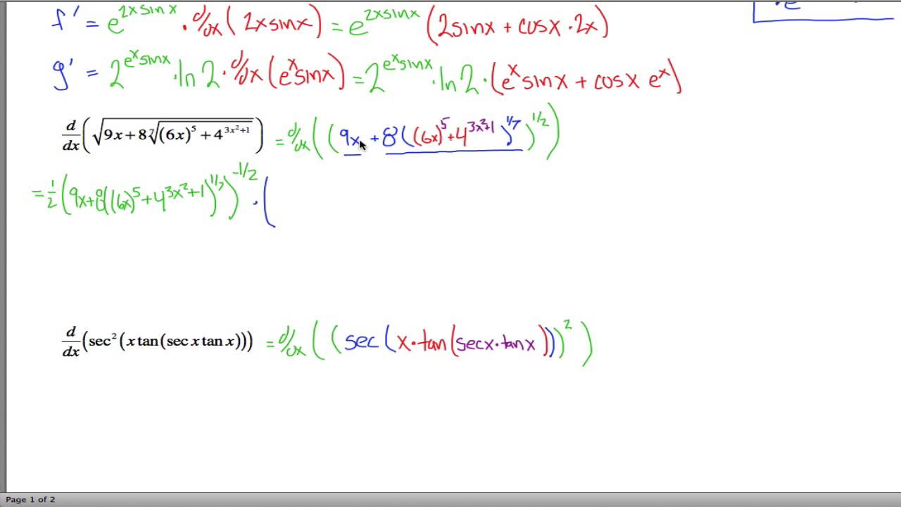 Ridiculously Hard Chain Rule Problems I - YouTube