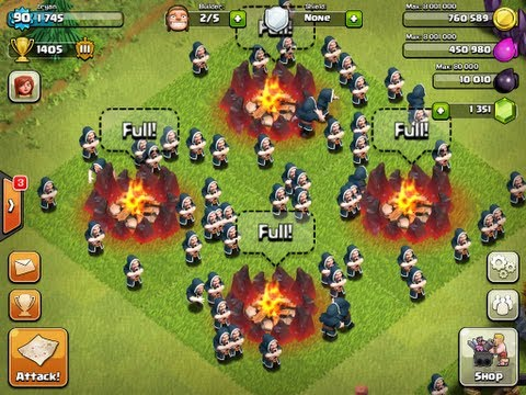 Clash of Clans - 67 Wizards Attack + Level 5 Rage Spells!