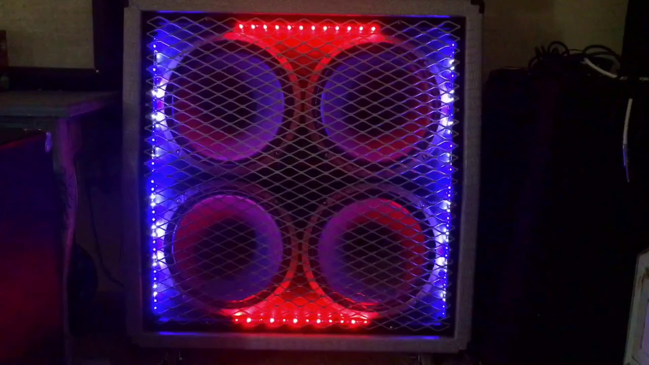 led light strips in a custom carvin guitar speaker cabinet with multicolor and sound activated. Black Bedroom Furniture Sets. Home Design Ideas
