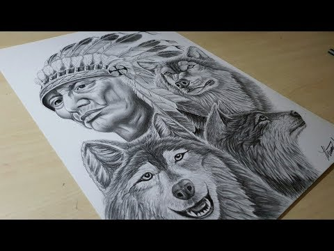 Drawing A Native American Chief And Wolves