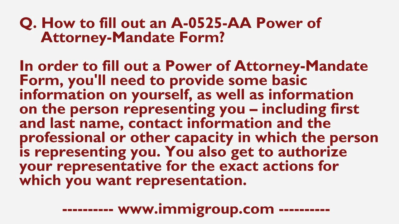 How to fill out an a 0525 aa power of attorney mandate form youtube how to fill out an a 0525 aa power of attorney mandate form falaconquin