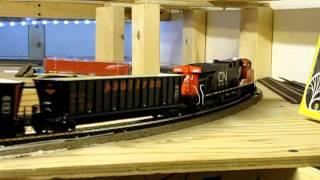 Athearn Genesis SD70M-2 and DP  Intermountain ES44DC hauling a unit sultran train, ho scale