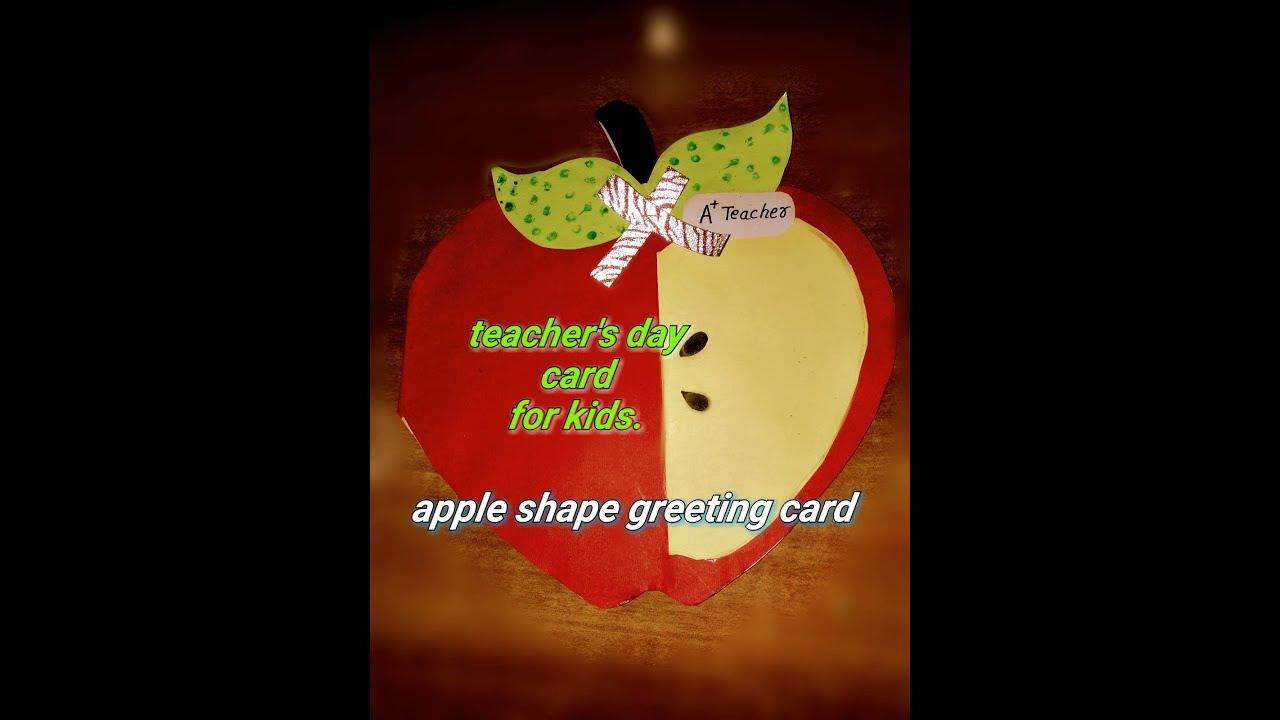 Teachers Day Card Idea For Kids Very Simple Apple Shape Card