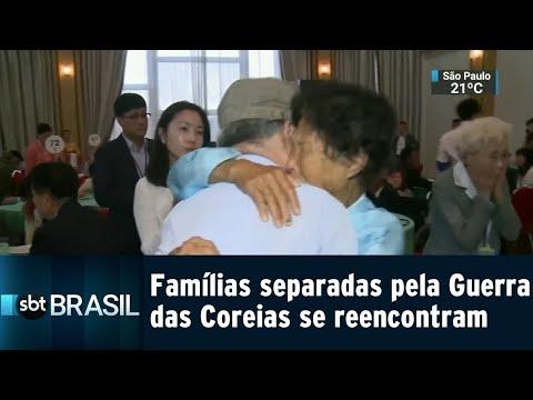 Após 70 anos, famílias separadas pela Guerra das Coreias se reencontram | SBT Brasil (20/08/18)