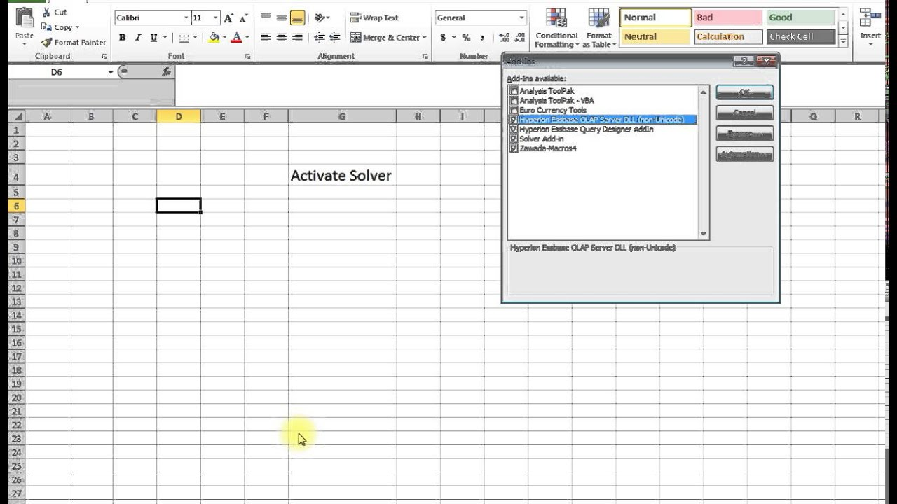 How to Activate Solver in Excel