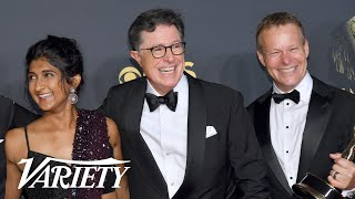 Stephen Colbert & 'Late Show' Team Celebrate Emmys Win Backstage