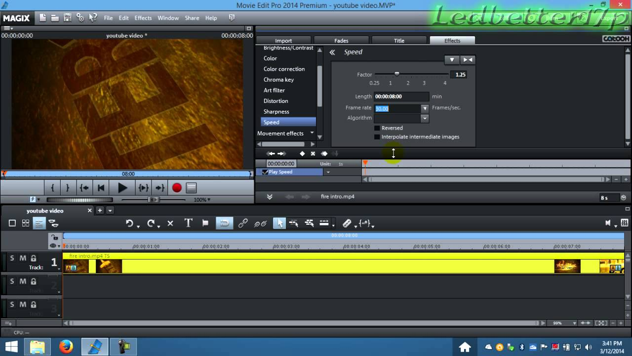 Magix Movie Edit Pro How To Do Slow Motion Video Youtube