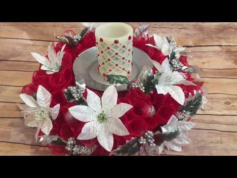Dollar Tree Christmas Crafts: Dollar Tree Christmas Centerpiece From A Plastic Spiderweb Bowl