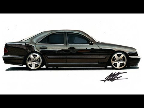 Realistic Car Drawing - Mercedes Benz W210 E Class - Time Lapse