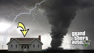 GIANT TORNADO HIT MY HOUSE!!! CAN WE SURVIVE? GTA 5 TORNADO APOCALYPSE MOD