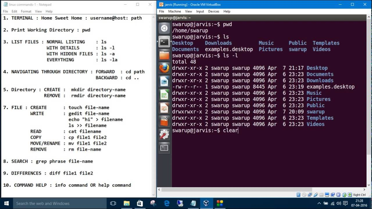 linux commands 1. print working directory: pwd & list files : ls, ls