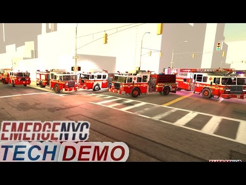 First Look At EmegeNYC Tech Demo |Driving The Firetrucks|Emergency Lights, Siren, Ladder Test Part 1