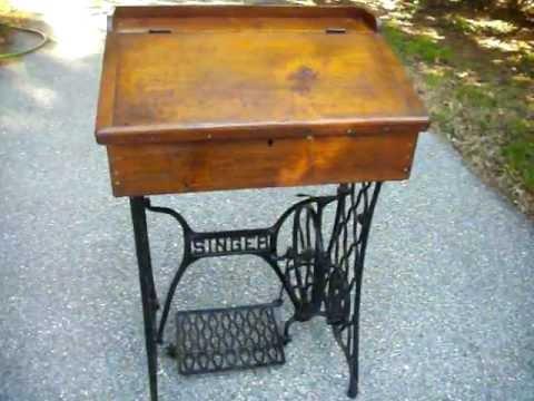 UNIQUE Antique Singer Treadle Base / Post Office Desk Table Sold