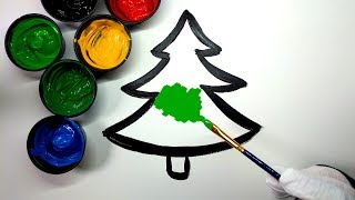 Painting Christmas tree painting pages, Painting Heart Tree and House Coloring Pages 💜 (4K)