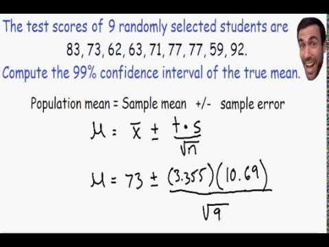 Confidence Intervals - using t distribution