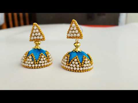 How to make silk thread jhumkas / simple and easy jhumkas at home / diy