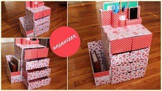 DIY Organizer | Drawers & Mobile Holder from Cardboard