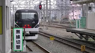 成田山初詣青梅号 接近放送・発車シーン