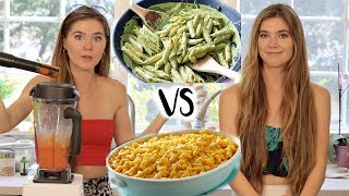 TWIN vs TWIN - COOKING CHALLENGE (Mac & Cheese Vs Basil Pesto)