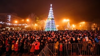 Огненное шоу на Новый год 2017 Донецк, площадь Ленина
