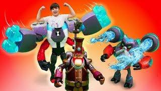 Бен 10 російською. Відео для дітей. Круті іграшки і трансформації. Людина-вогонь, ти звідки?