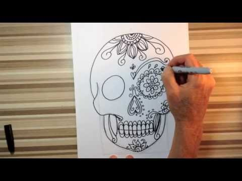 how to draw sugar skulls art tutorial youtube