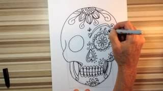 How to draw sugar skulls art tutorial