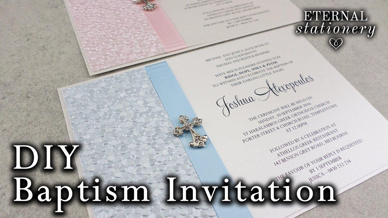 Very Easy DIY Embossed BaptismChristening Invitation DIY Invitations In MS Word YouTube