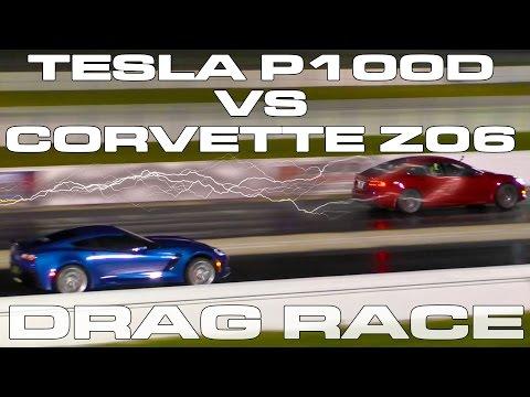 Tesla Model S P100D takes on a 650HP Corvette Z06 Drag Racing 1/4 Mile