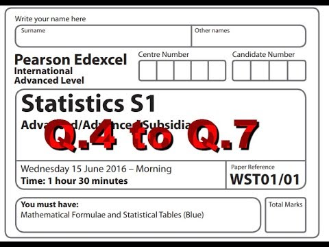 IAL S1 MAY 16 Part 2 Q4 to Q  7