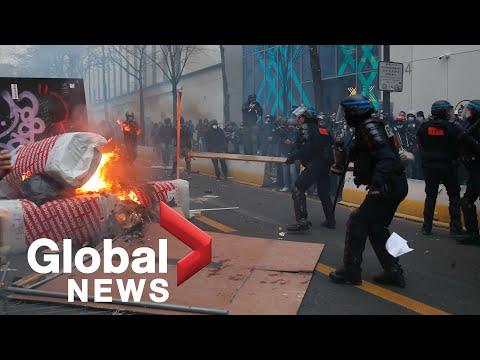 Violence erupts during Paris protest against police brutality