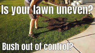 DIY how to fix low spots in your lawn by top dressings with topsoil.  Fix scalp spots in your lawn