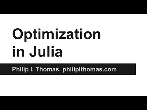 Optimization in Julia using JuMP