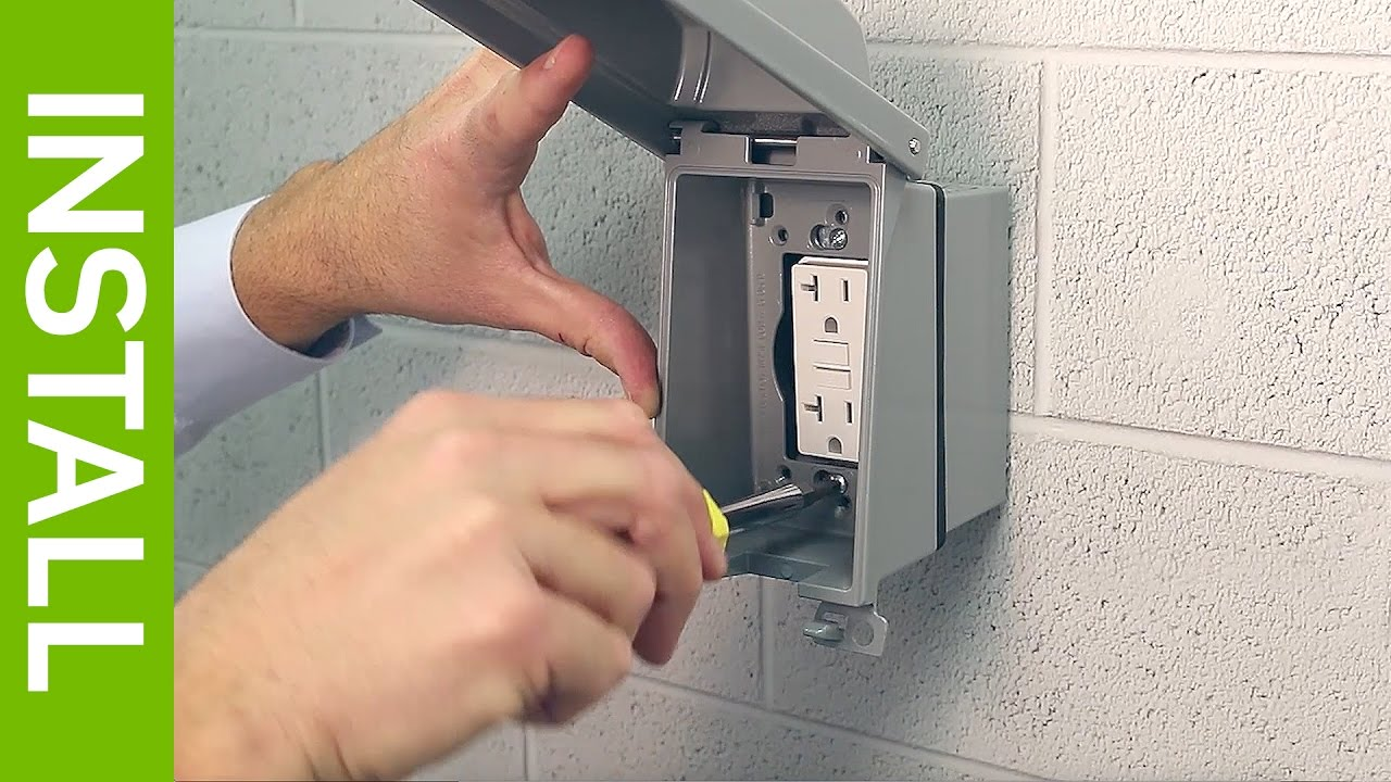 How To Install A Leviton Weatherproof Extra Duty Outlet Box Hood 15 Amp Circuit Guard Gfci Receptacle Ivory Hd Supply While In Use Cover