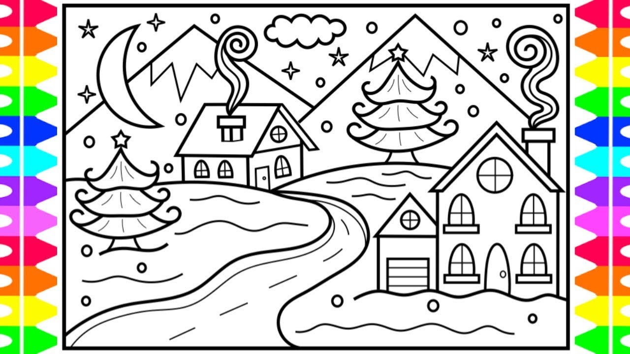 How to Draw Winter Season Scenery ❄️Winter Scenery Drawing and Coloring Page