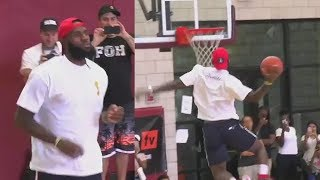 LeBron James Turns His Son's Basketball Game into a Dunk Contest!