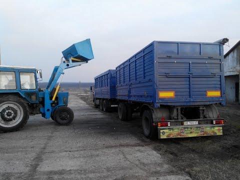 КАМАЗ 53215 + Нефаз 8332  зерновоз погрузка подсолнуха