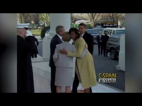 George and Laura Bush welcome the Obamas to the White House 2009